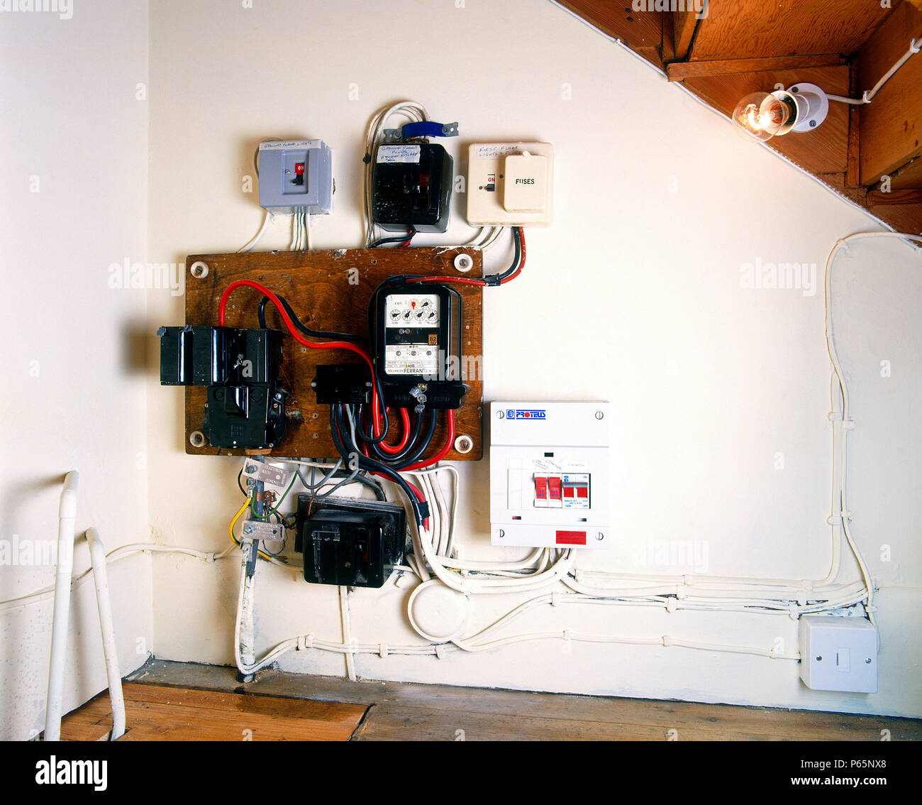 Rewiring Stock Photos Images Alamy Old Doorbell Fuse Box Image
