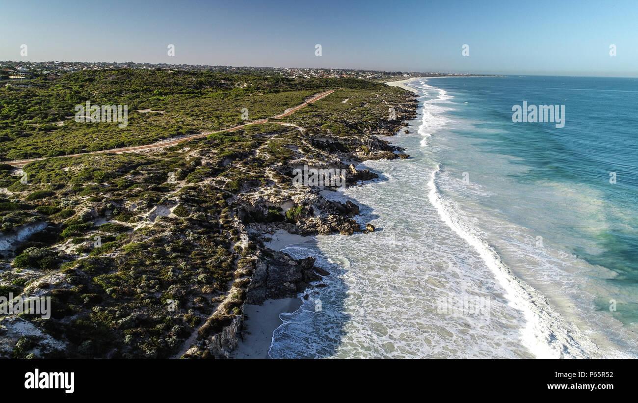 Aerial view Ocean Reef Perth Western Australia seaside coast waves rolling onto shore - Stock Image