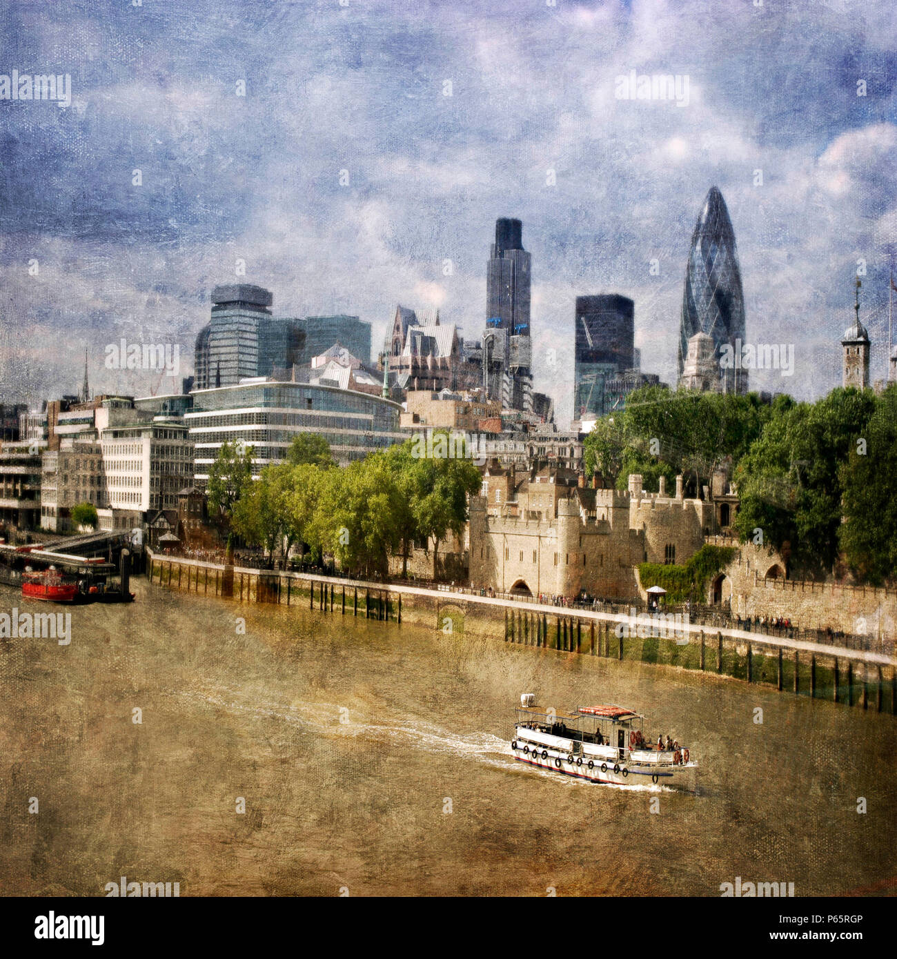 London City Skyline with Gherkin and Tower of London, London, UK - Stock Image
