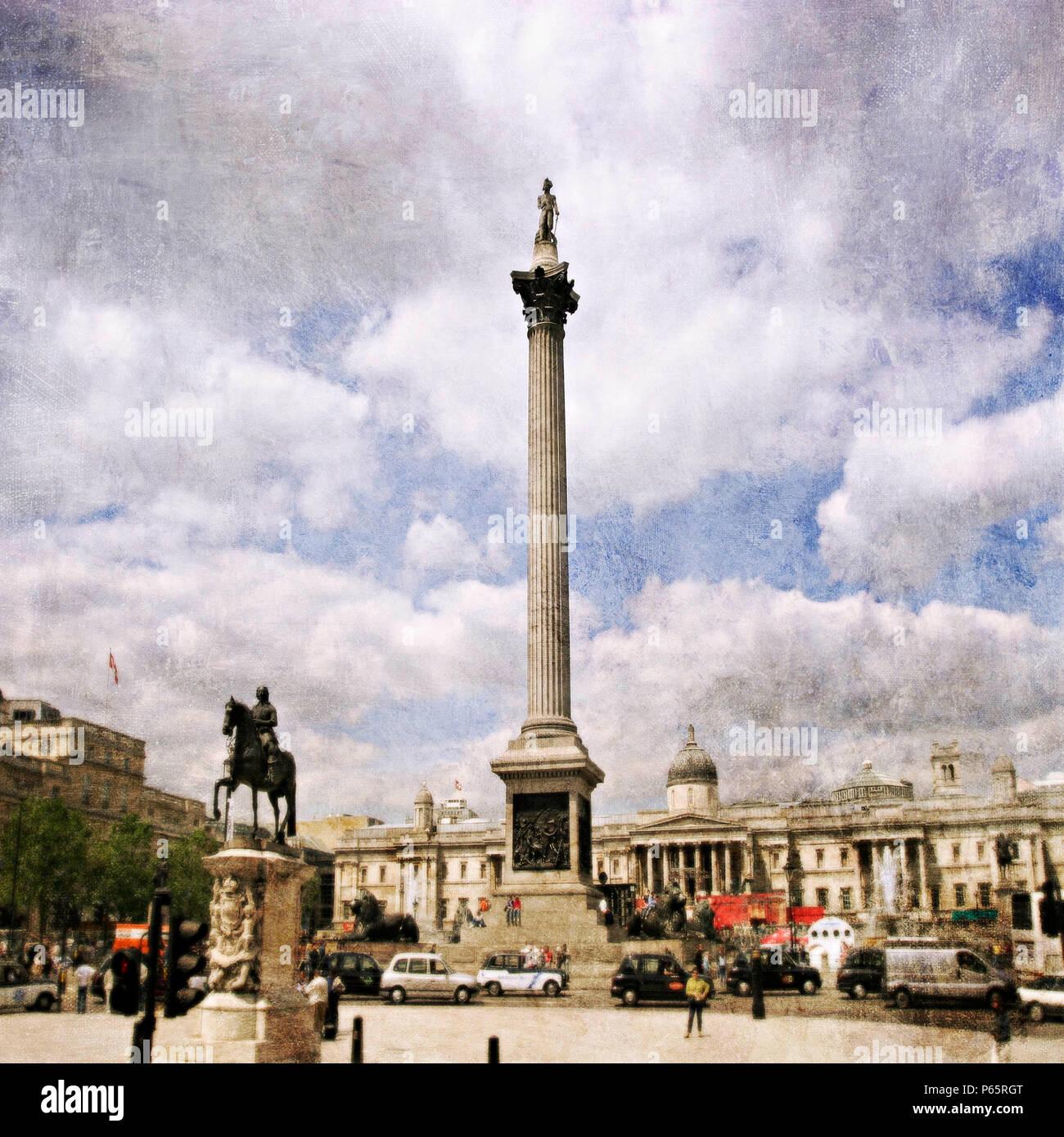 Trafalgar Square with Nelson Column, London, UK - Stock Image