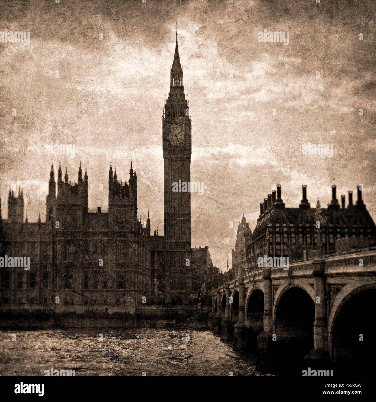Big Ben and Westminster in Sepia Tones, London, UK - Stock Image