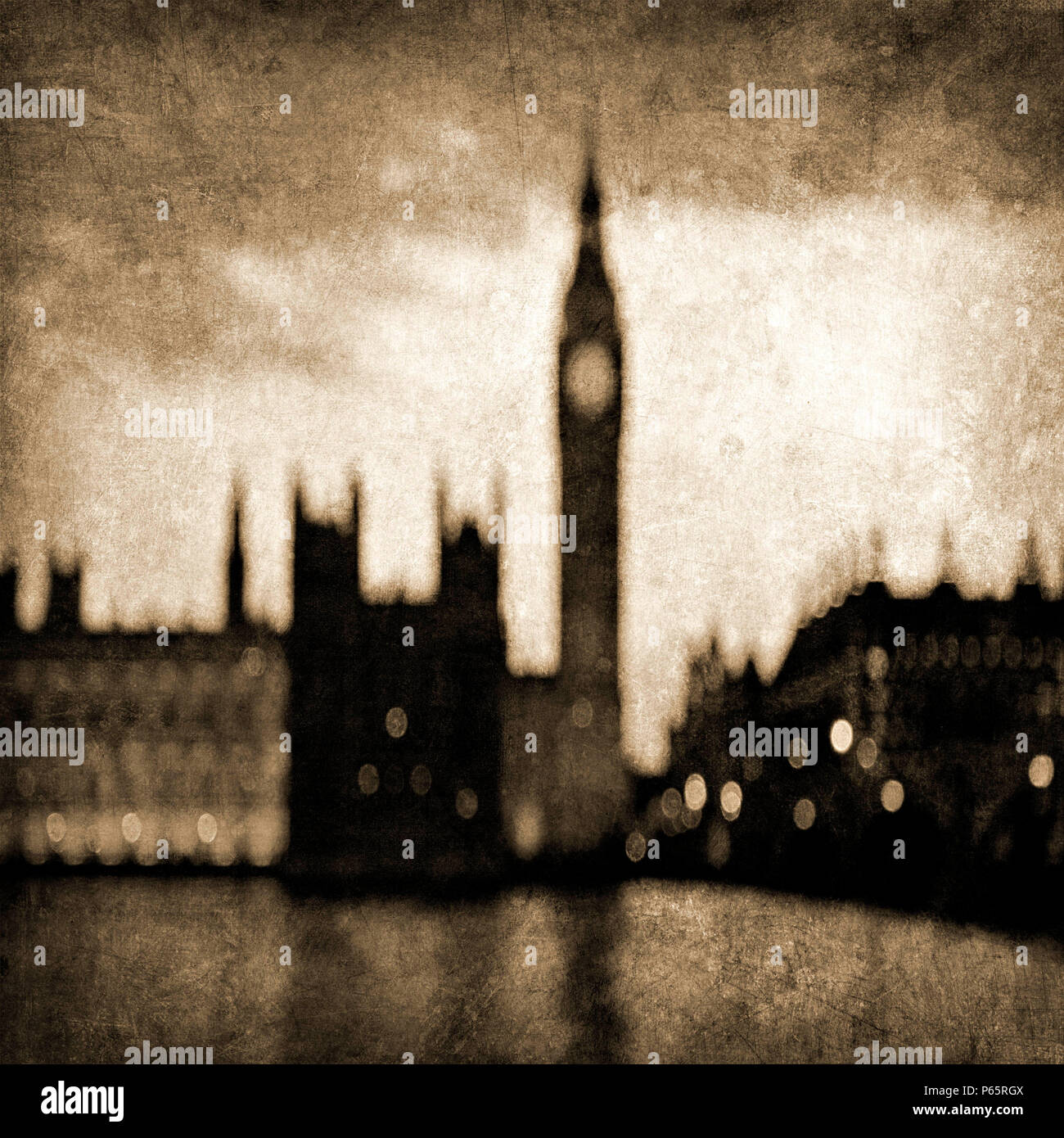 Big Ben and Westminster in Sepia Tones with Blurred Effect, London, UK - Stock Image