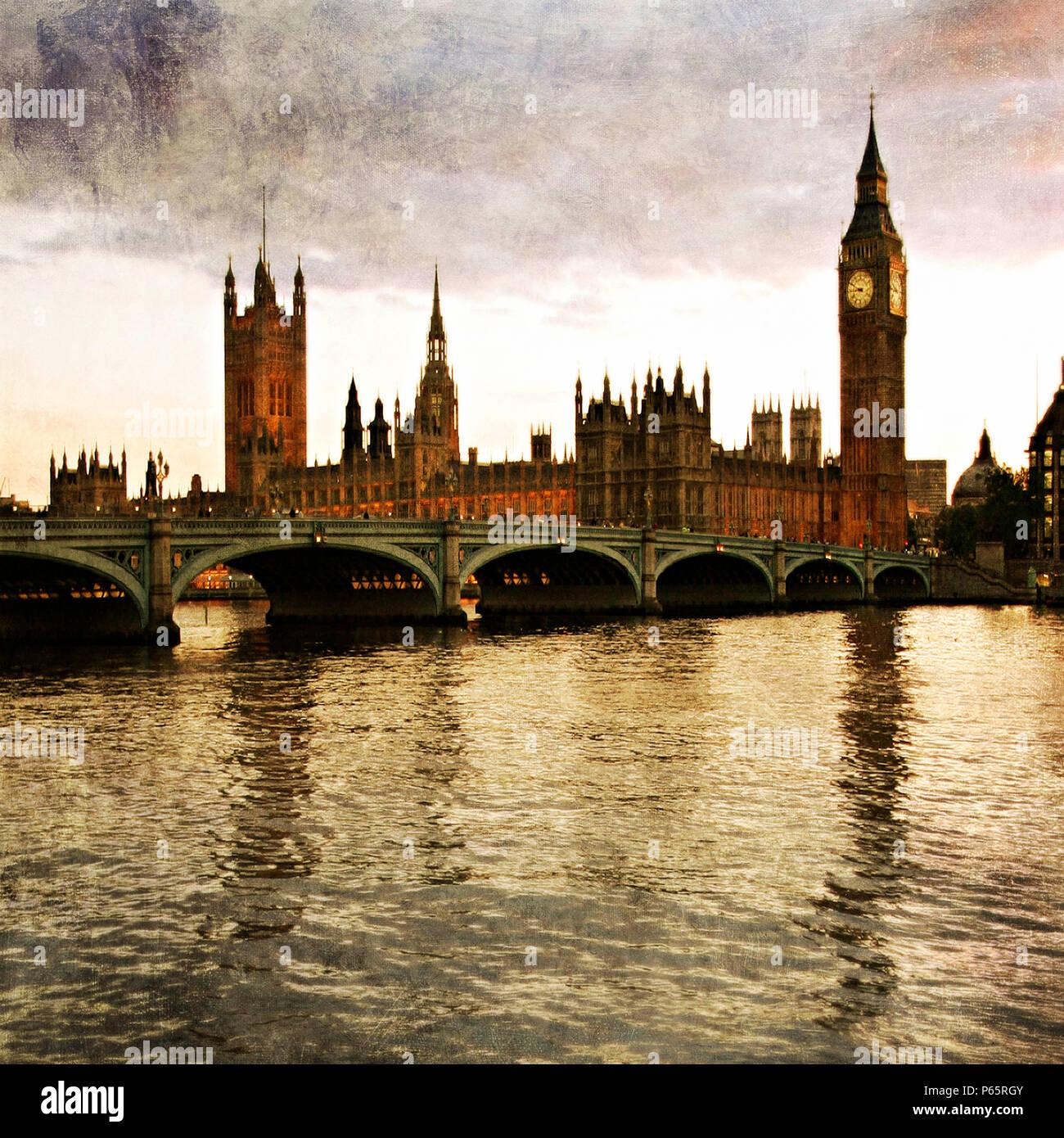 Westminster Bridge and Big Ben, London, UK - Stock Image