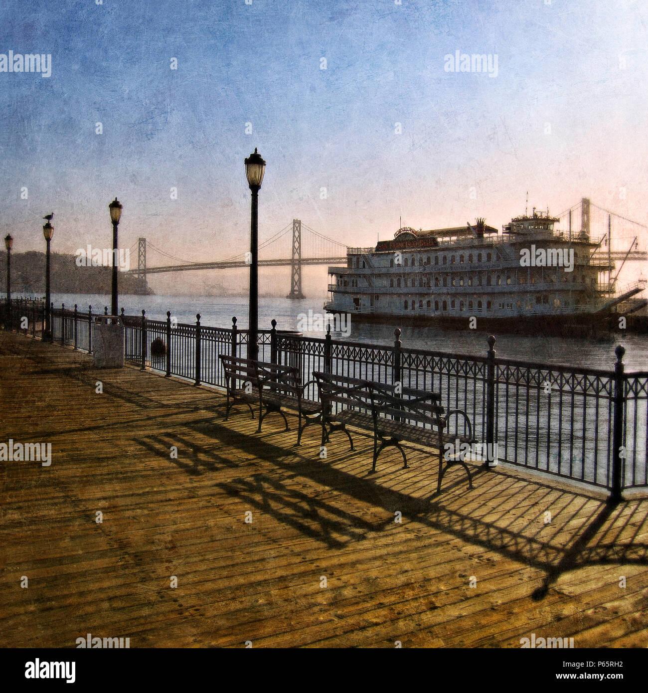 Promenade and Cruiser and San Francisco-Oakland Bay Bridge, San Francisco Bay, California, USA (painterly) - Stock Image