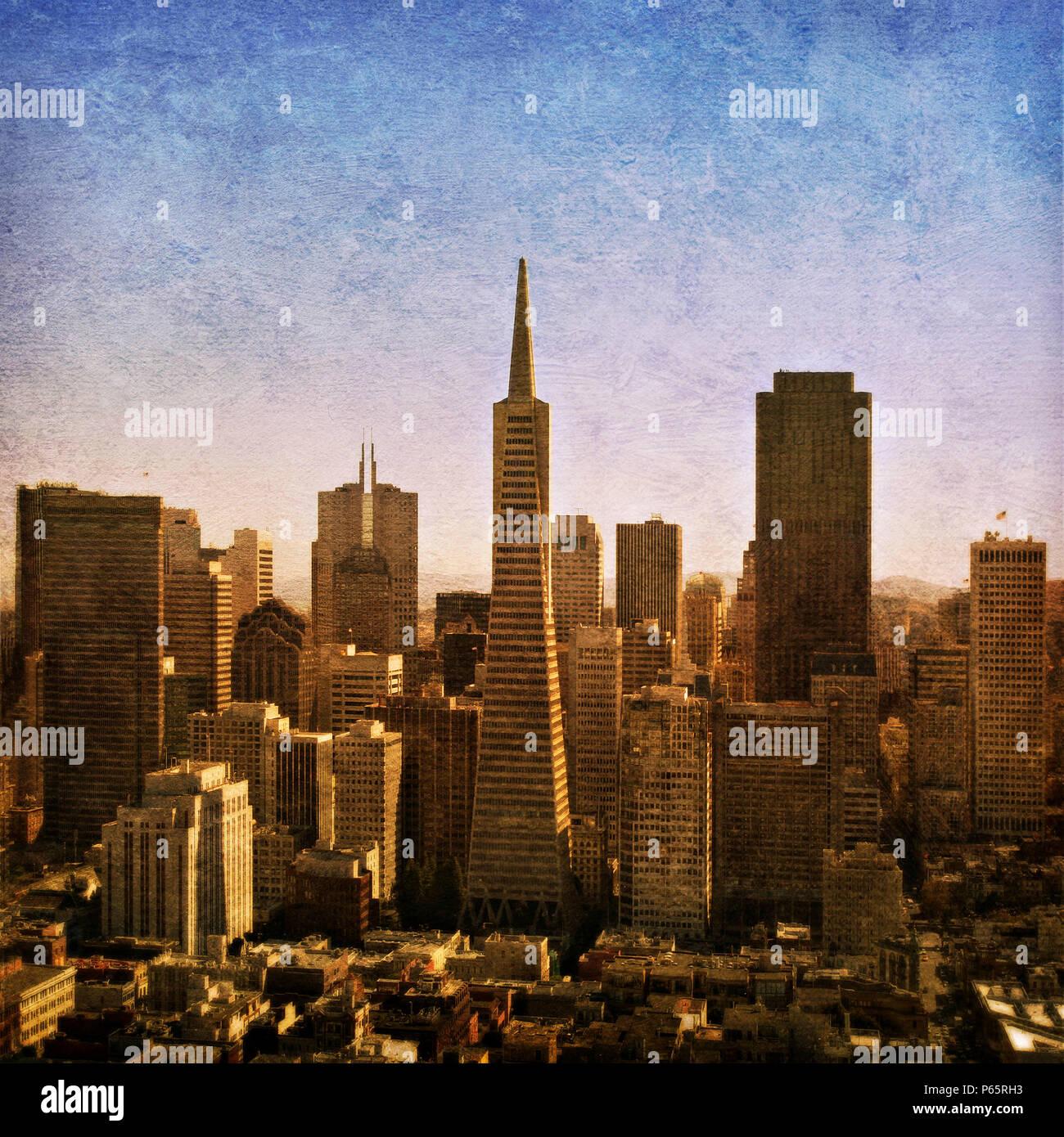 The Transamerica Pyramid in San Francisco, California, USA (painterly) - Stock Image
