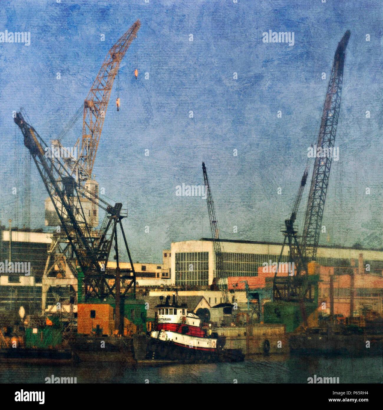 San Francisco docks, California, USA (painterly) - Stock Image