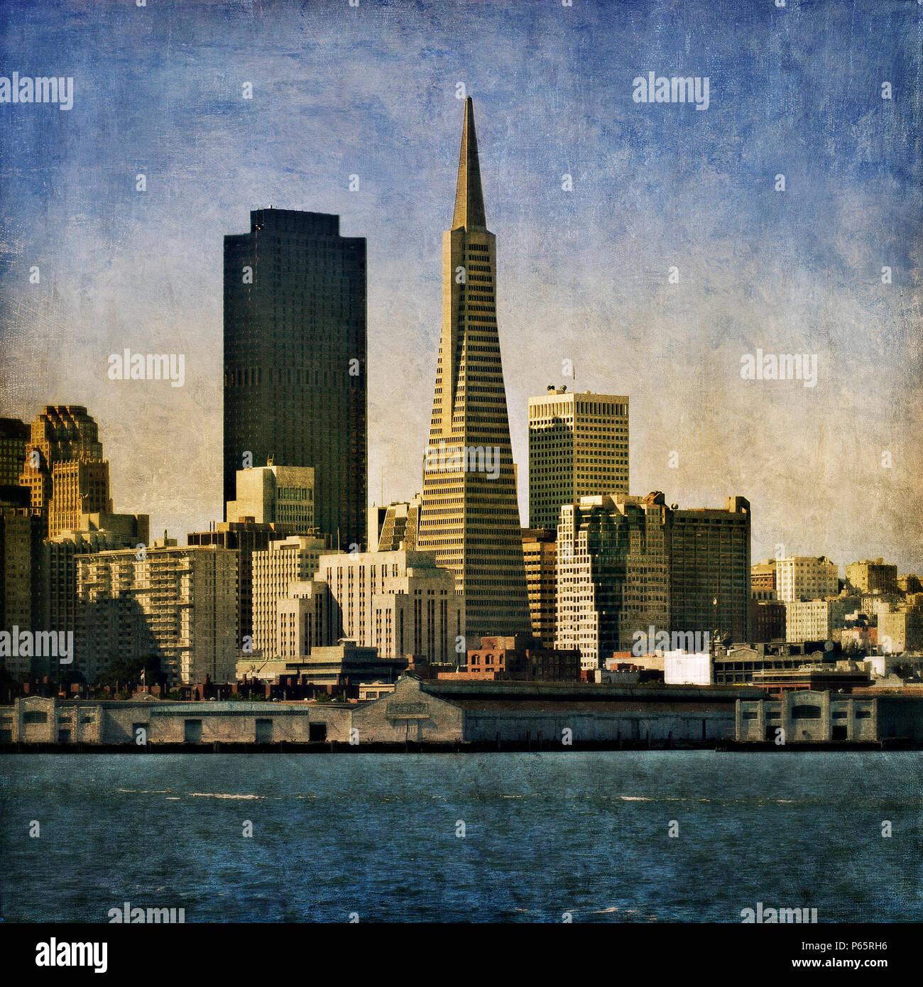 The Transamerica Pyramid, San Francisco, California, USA (painterly) Stock Photo