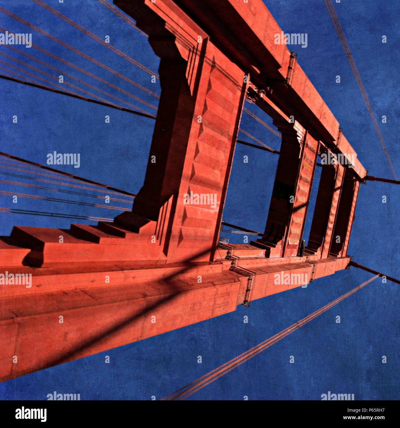 Golden Gate Bridge, California, USA (painterly) - Stock Image