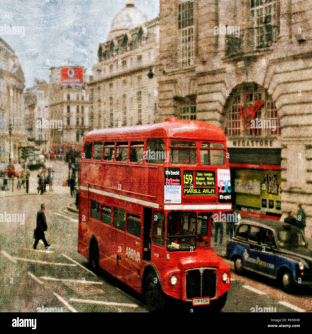 London bus in Piccadilly Circus, London, UK. - Stock Image