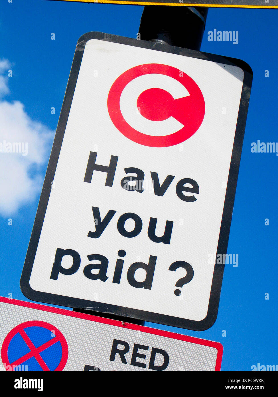 Congestion Charging road sign, central London, United, Kingdom. - Stock Image