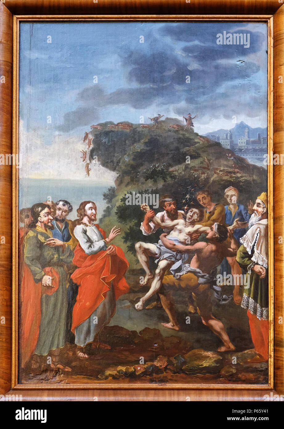 Miracles of Jesus: Expelling demons, church of Immaculate Conception in Lepoglava, Croatia - Stock Image