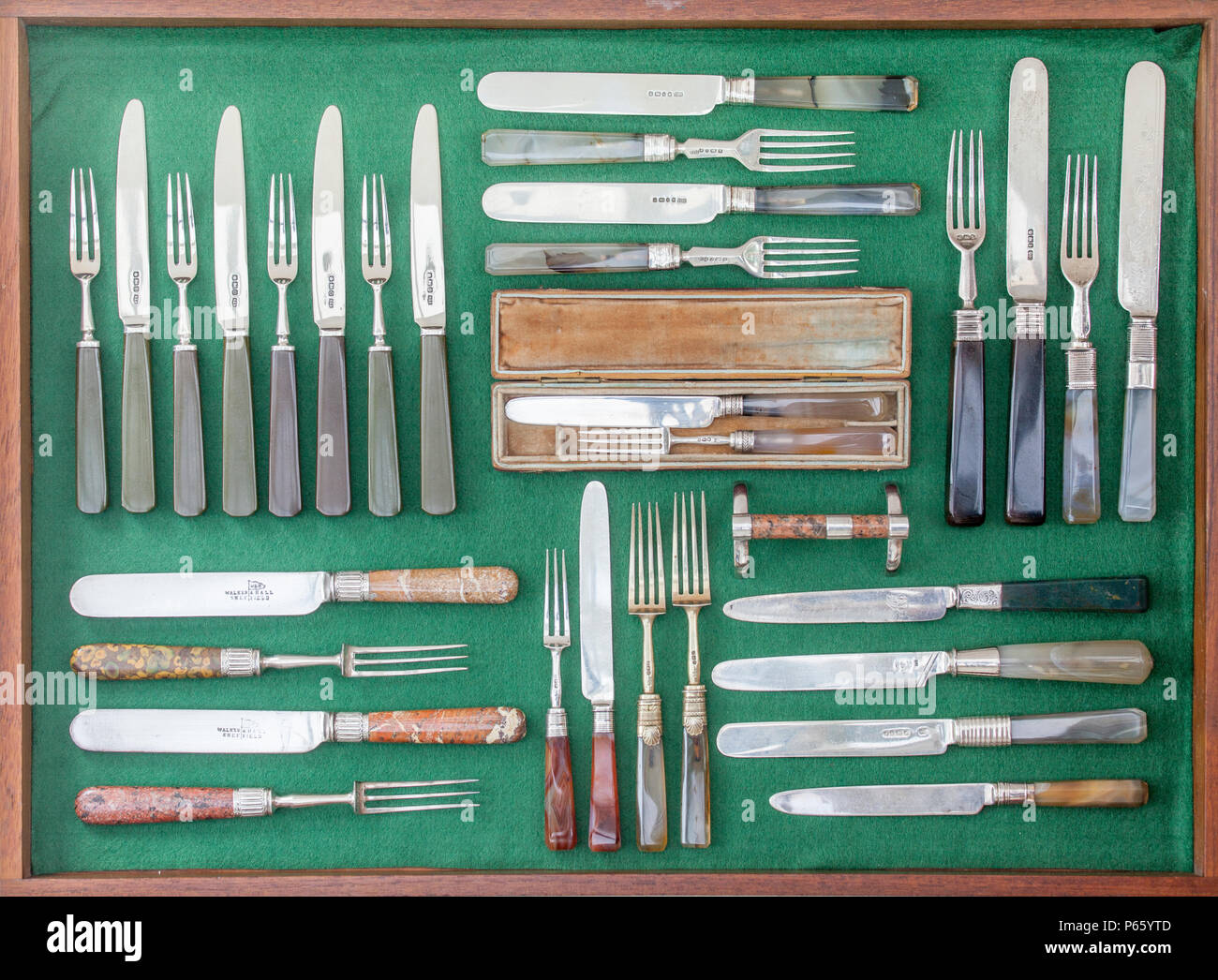 Private collection of attractive antique knives and forks - Stock Image