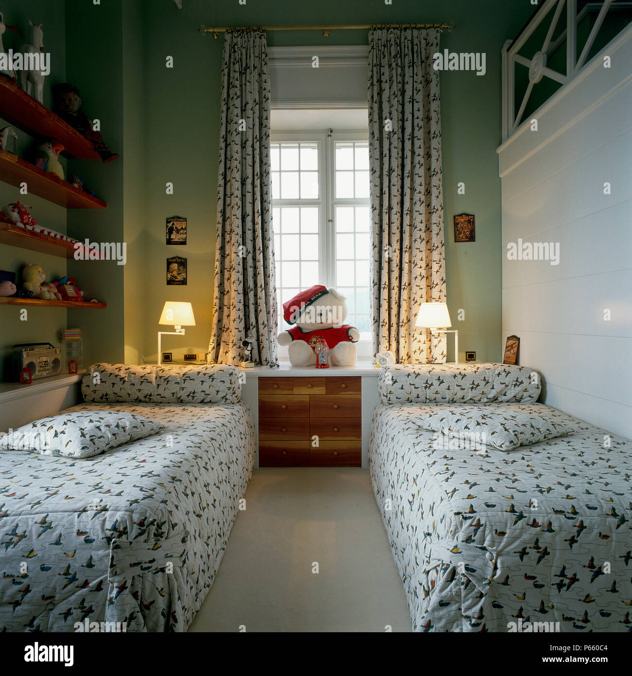 Picture of: View Of Two Single Beds In A Children S Room Stock Photo Alamy