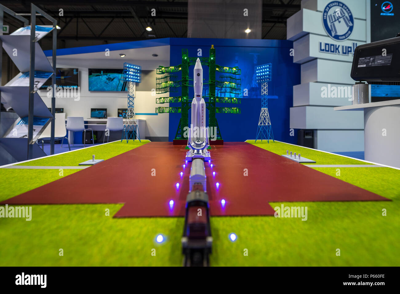 Stand of Roscosmos State Corporation for Space Activities. The plan for a new spaceport Vostochny and an Angara-5 missile carrier model. - Stock Image