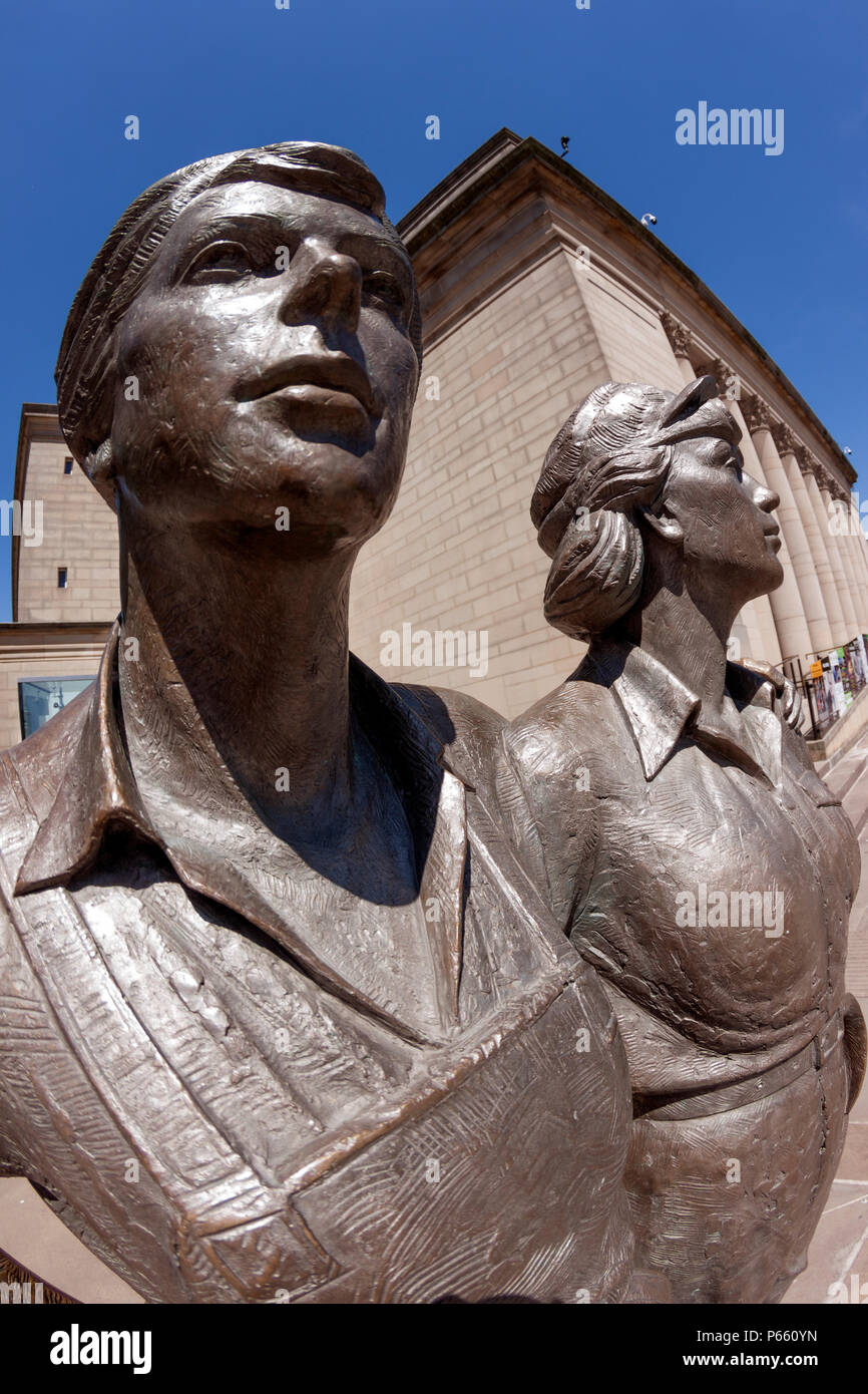Women of Steel bronze sculpture, fisheye view, honouring the women of Sheffield who worked in the steel industry in both world wars, close-up - Stock Image