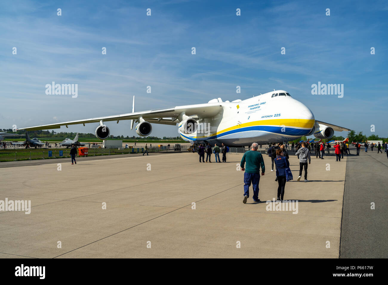 BERLIN, GERMANY - APRIL 27, 2018: Strategic airlifter Antonov An-225 Mriya by Antonov Airlines on the airfield. Exhibition ILA Berlin Air Show 2018 - Stock Image