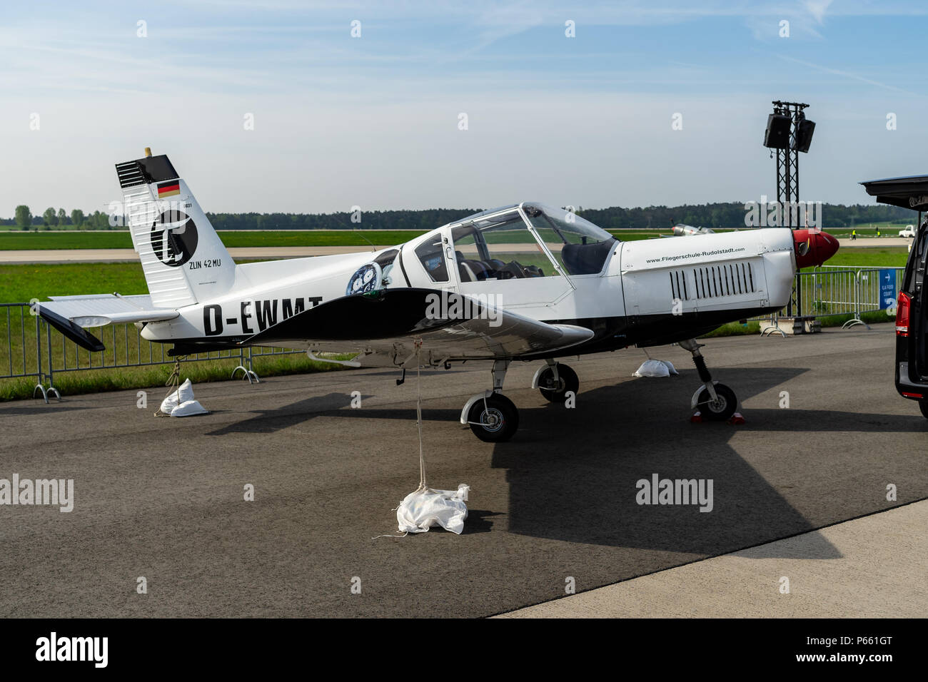 BERLIN - APRIL 27, 2018: Czech single-engine two-seat sport, personal and trainer aircraft Zlin Z42MU. Exhibition ILA Berlin Air Show 2018. - Stock Image