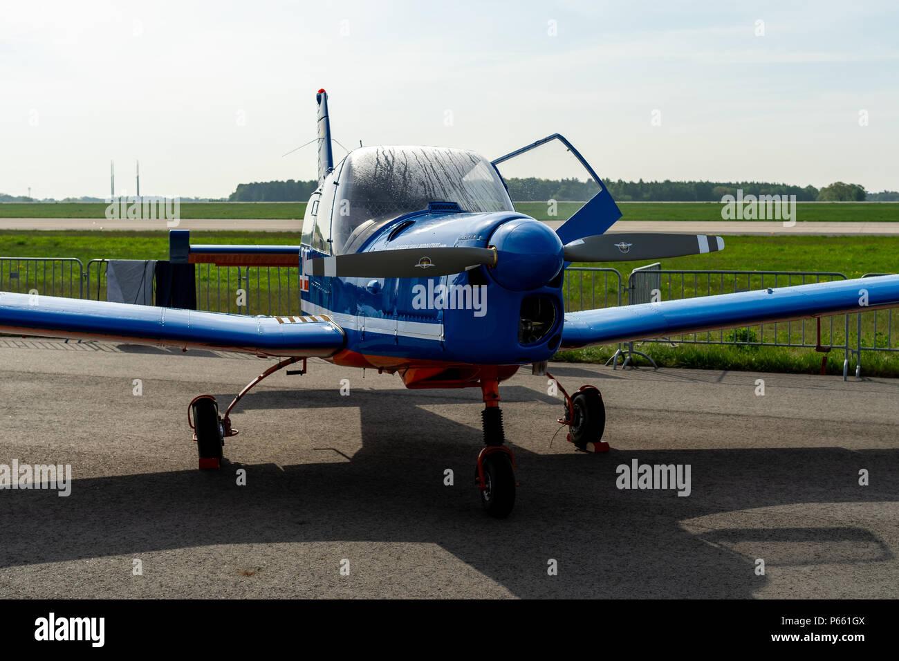 BERLIN - APRIL 27, 2018: Czech four-seat light trainer / touring aircraft Zlin Z43. Exhibition ILA Berlin Air Show 2018. - Stock Image