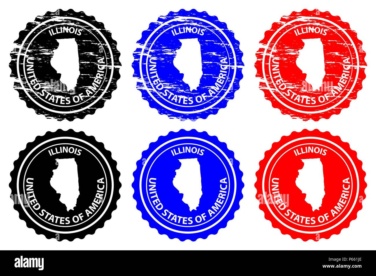 Illinois - rubber stamp - vector, Illinois (United States of America) map pattern - sticker - black, blue and red - Stock Vector