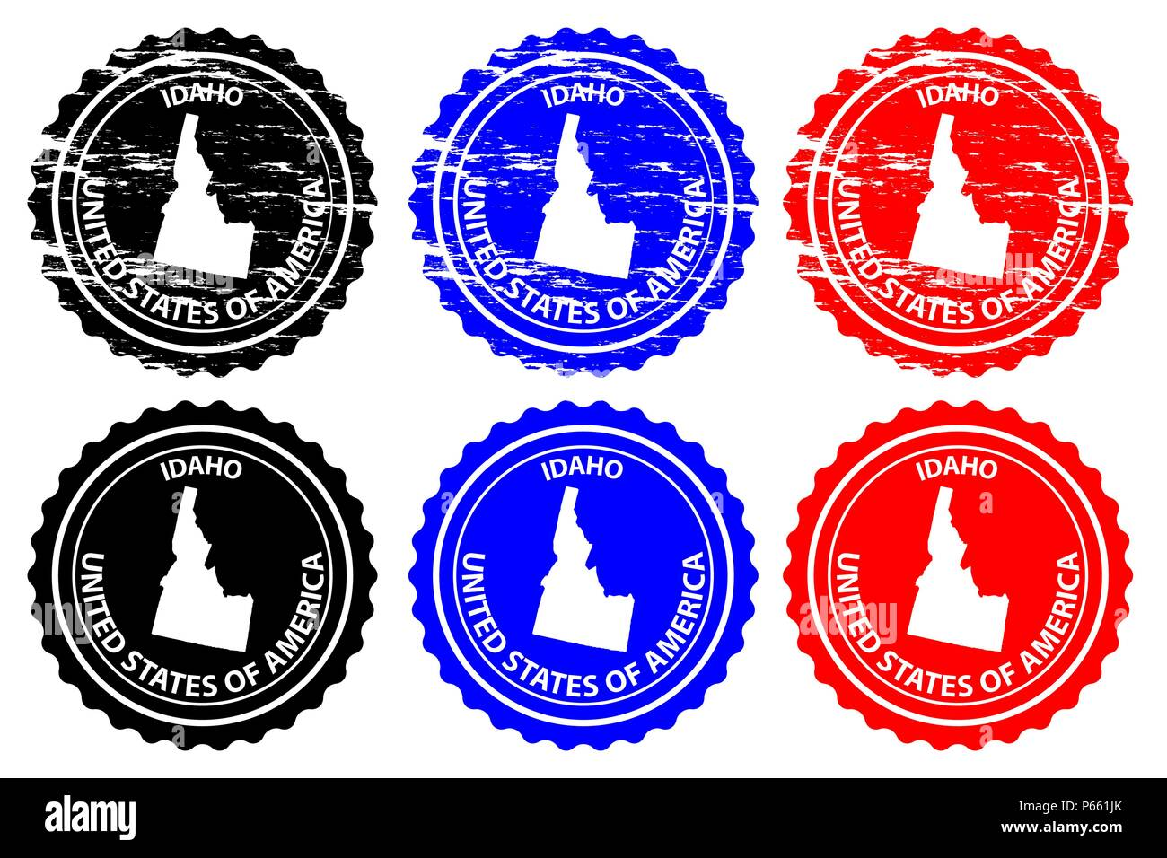 Idaho - rubber stamp - vector, Idaho (United States of America) map pattern - sticker - black, blue and red - Stock Vector