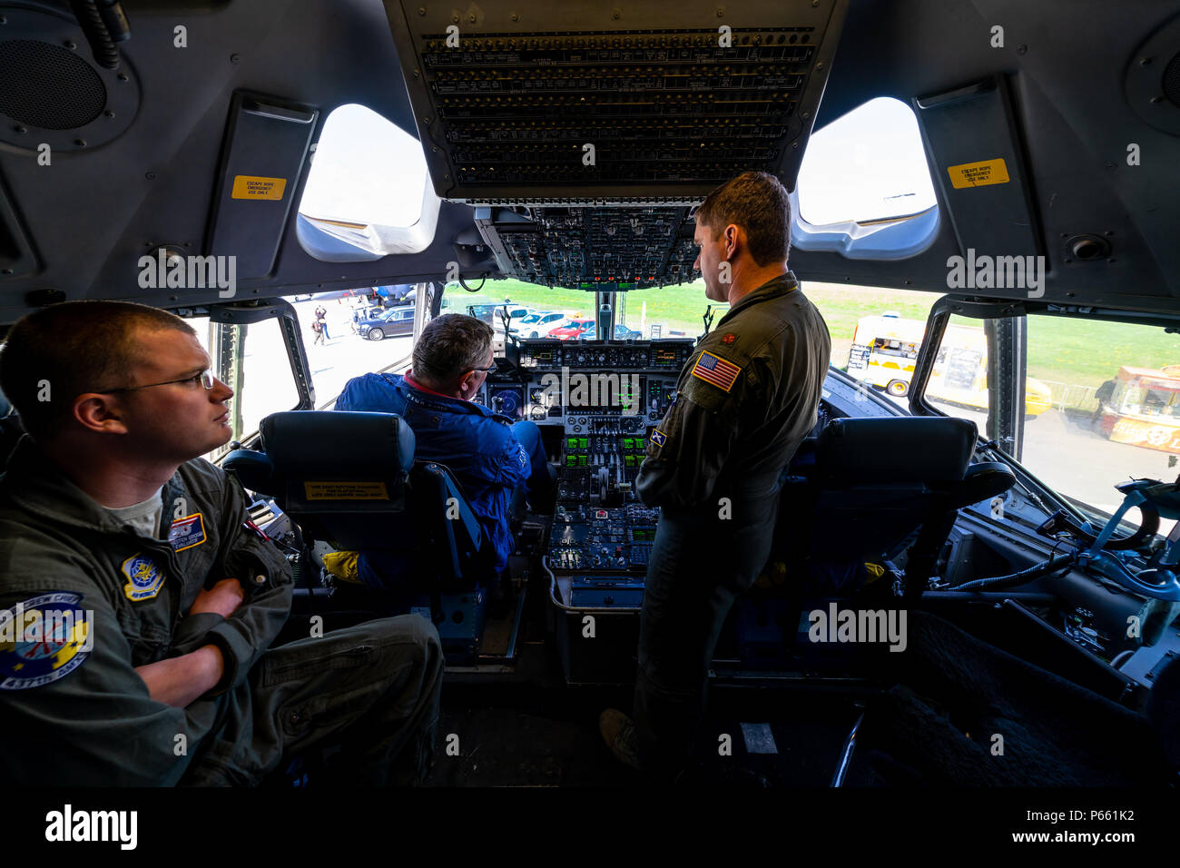 BERLIN - APRIL 27, 2018: Cockpit of strategic and tactical airlifter Boeing C-17 Globemaster III. Exhibition ILA Berlin Air Show 2018 - Stock Image