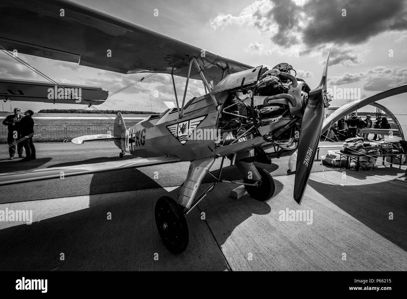 BERLIN - APRIL 27, 2018: Biplane trainer Focke-Wulf Fw 44J Stieglitz ('Goldfinch'). Black and white. Exhibition ILA Berlin Air Show 2018. - Stock Image