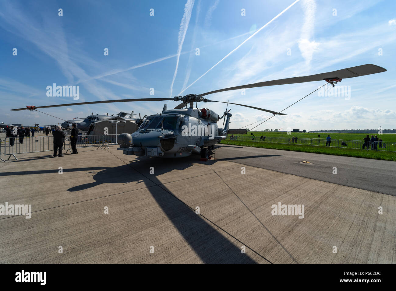 BERLIN - APRIL 27, 2018: The medium-lift utility helicopter Sikorsky UH-60 Black Hawk on the airfield. Exhibition ILA Berlin Air Show 2018. - Stock Image