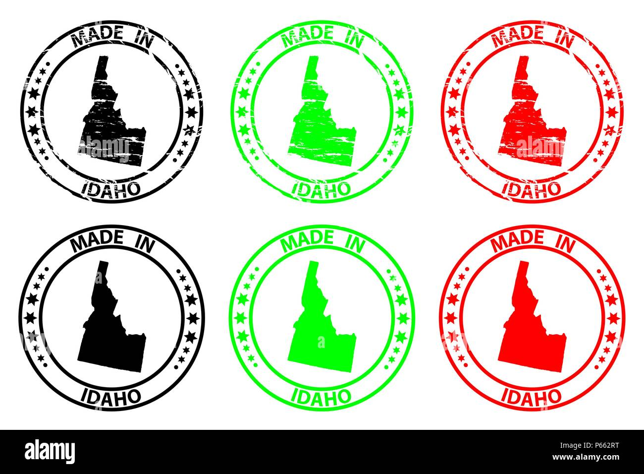 Made in Idaho - rubber stamp - vector, Idaho (United States of America) map pattern - black, green  and red - Stock Vector