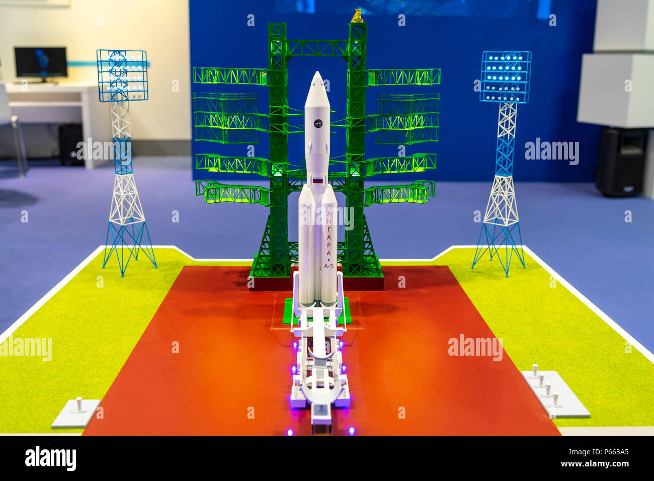 Space Pavilion. Stand of Roscosmos. The plan for a new spaceport Vostochny and an Angara-5 missile carrier model. Exhibition ILA Berlin Air Show 2018 - Stock Image