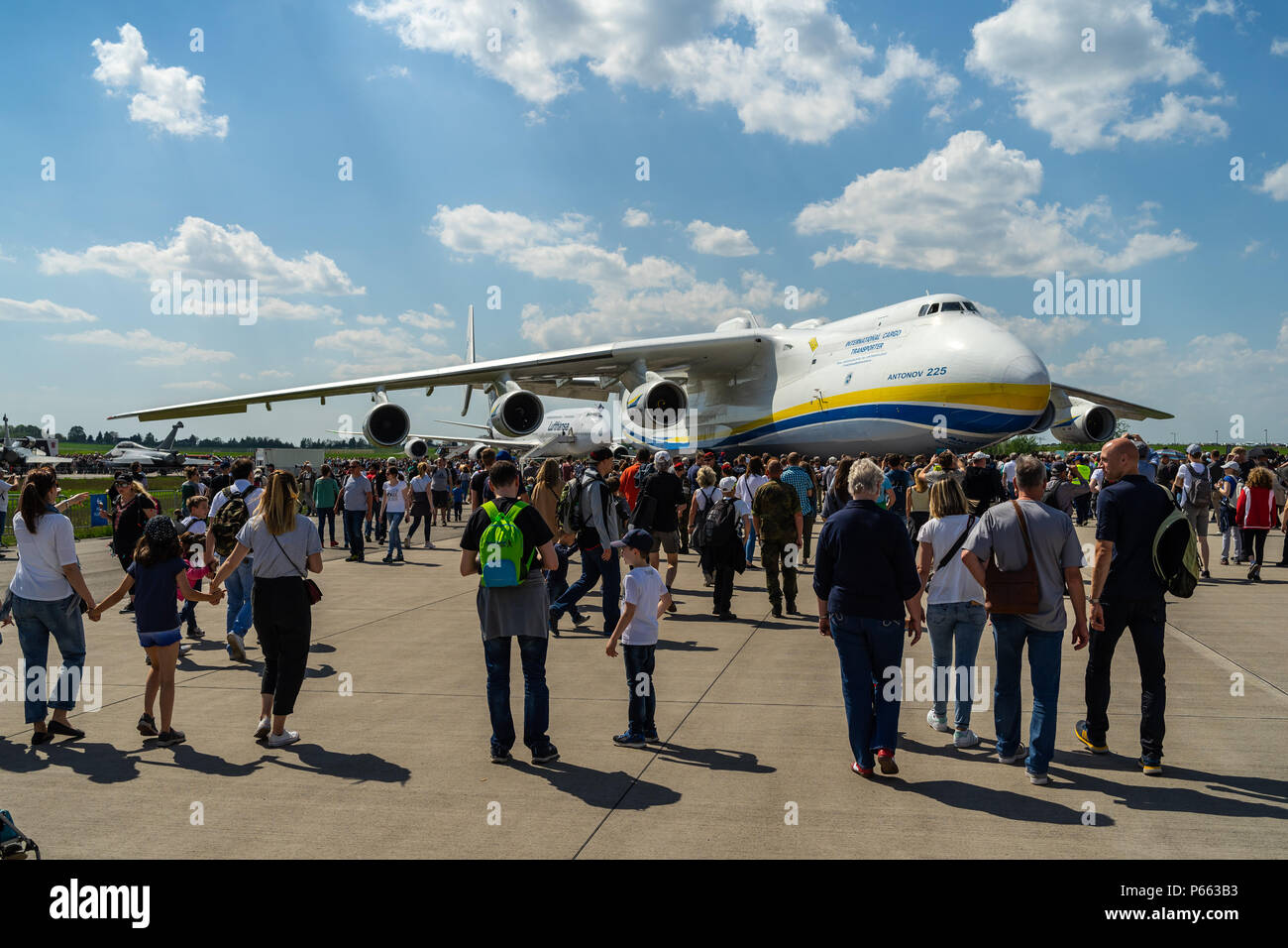 BERLIN - APRIL 28, 2018: Strategic airlifter Antonov An-225 Mriya by Antonov Airlines on the airfield. Exhibition ILA Berlin Air Show 2018 - Stock Image