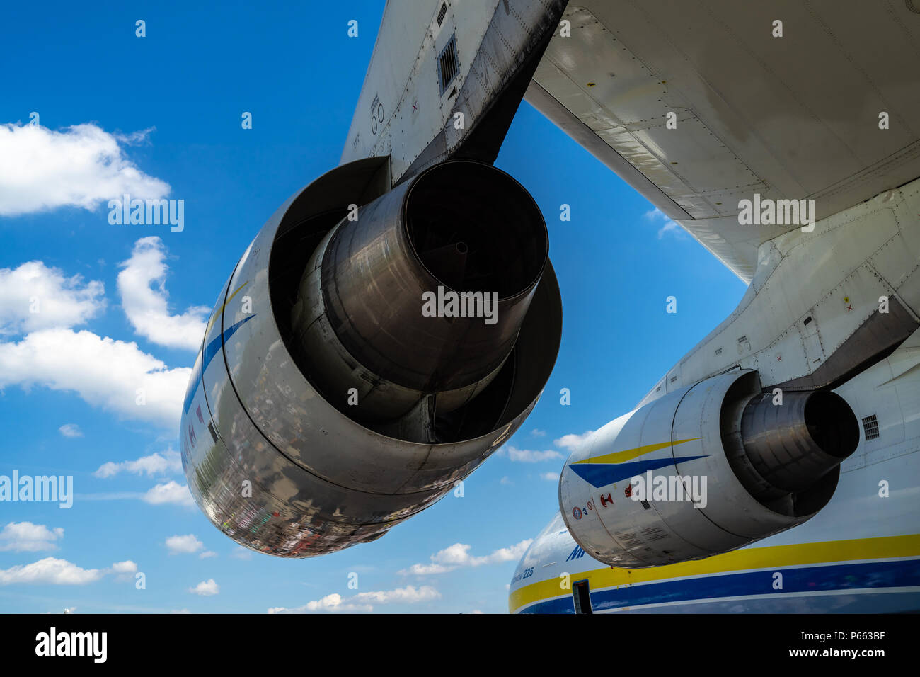 Turbofans Progress D-18T of the strategic airliner Antonov An-225 Mriya by Antonov Airlines. Exhibition ILA Berlin Air Show 2018 - Stock Image