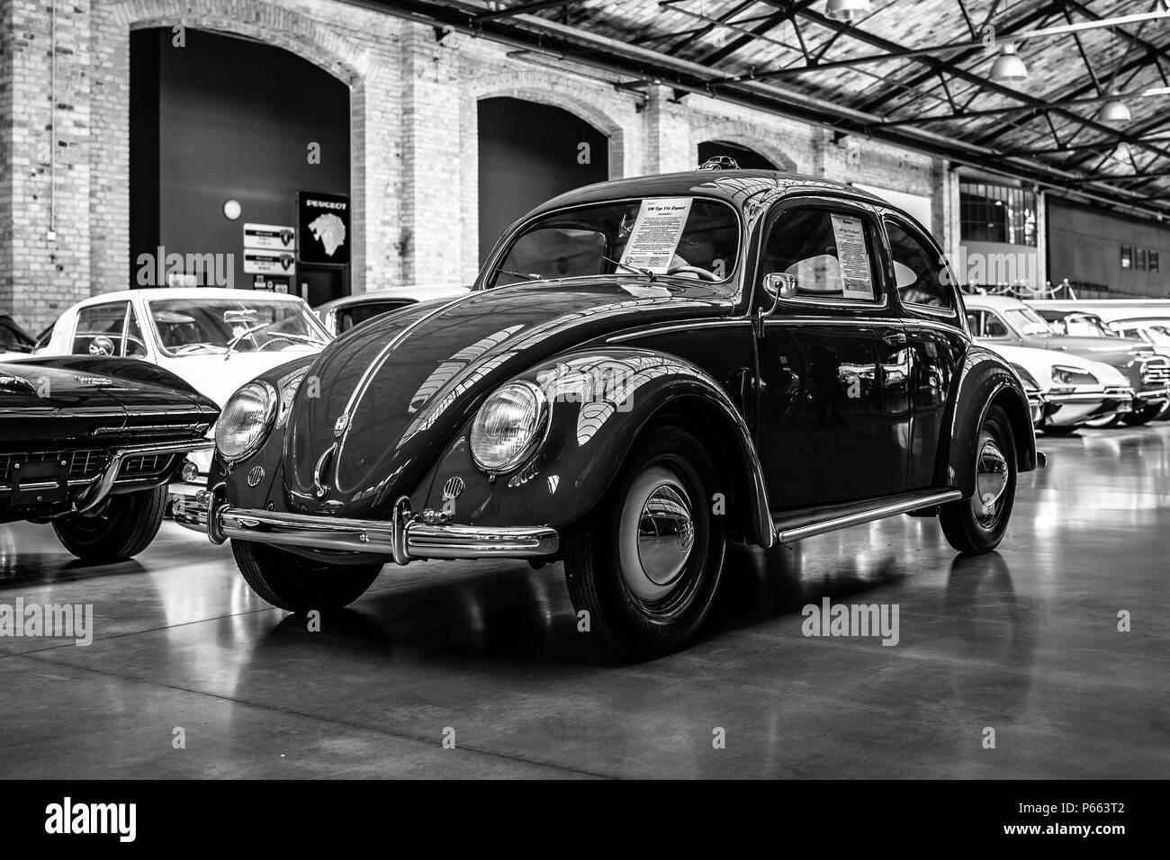 Economy car Volkswagen Beetle Export Modell Typ 11C,1951. - Stock Image