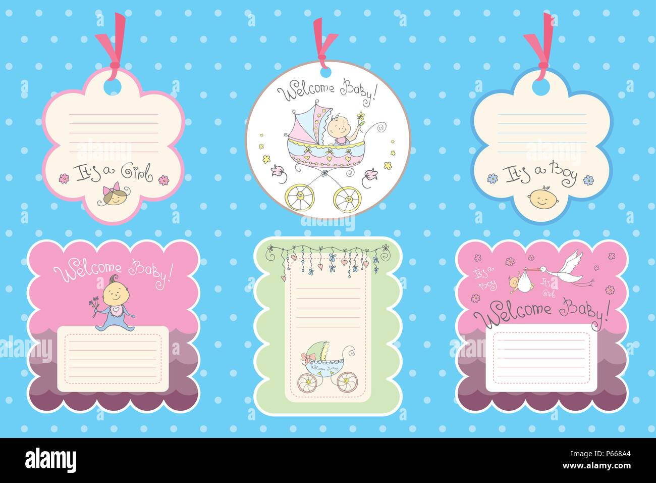 Set Of Cardslabels For Newborn Baby Vector Templates For