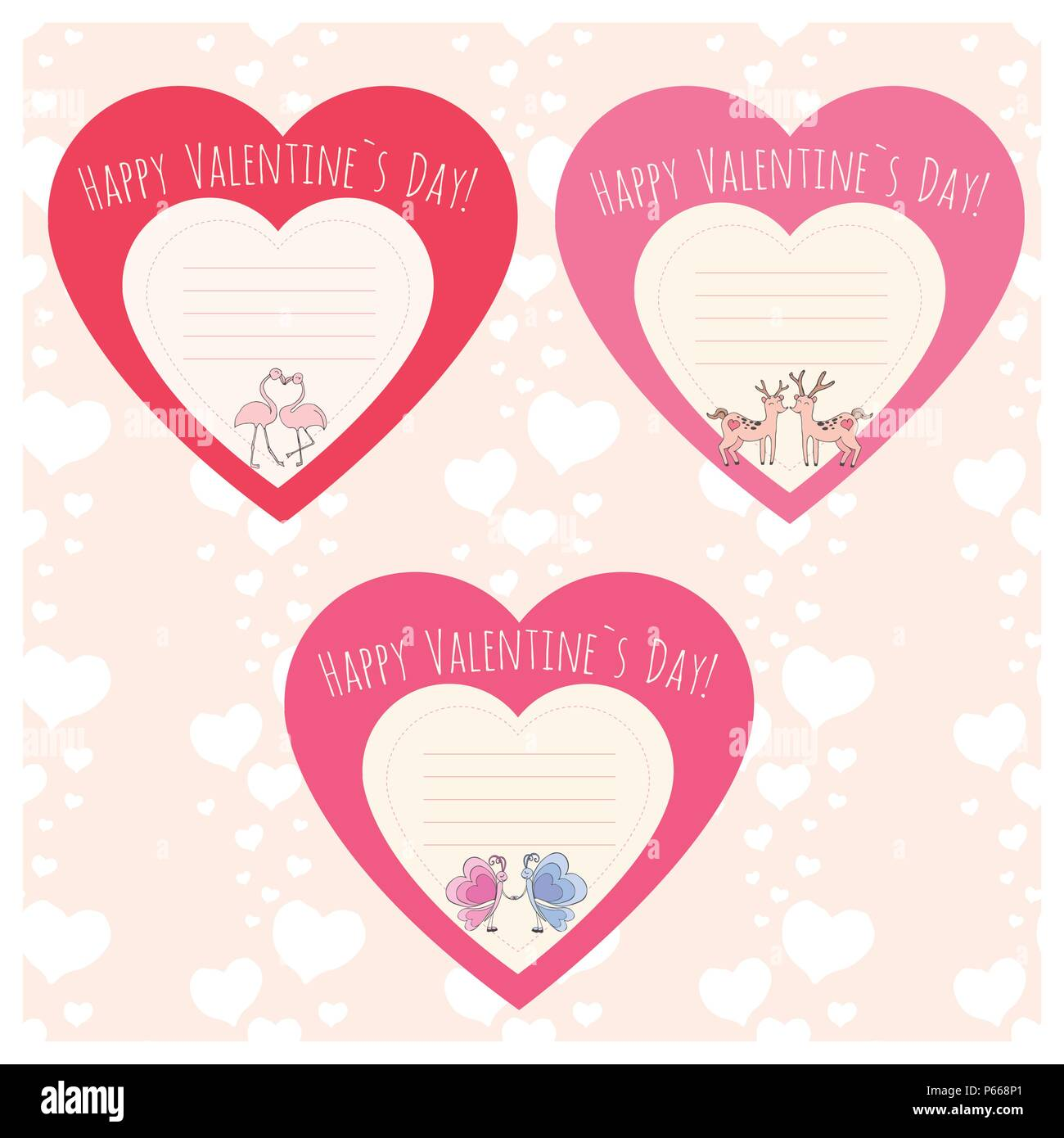 Hearts With Couple Of Deer Flamingo And Butterfly Valentine S Day