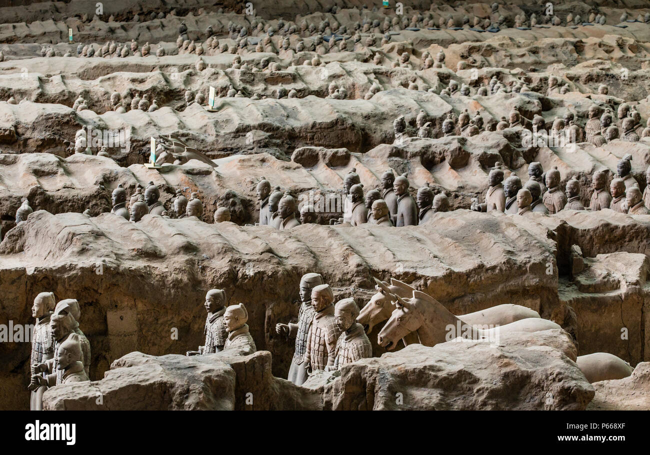 Lintong, Xi'an, Shaanxi/China- October 15 2014: China's famous Terracotta Warriors and Horses. The Terracotta Army is the collection of sculptures dep - Stock Image