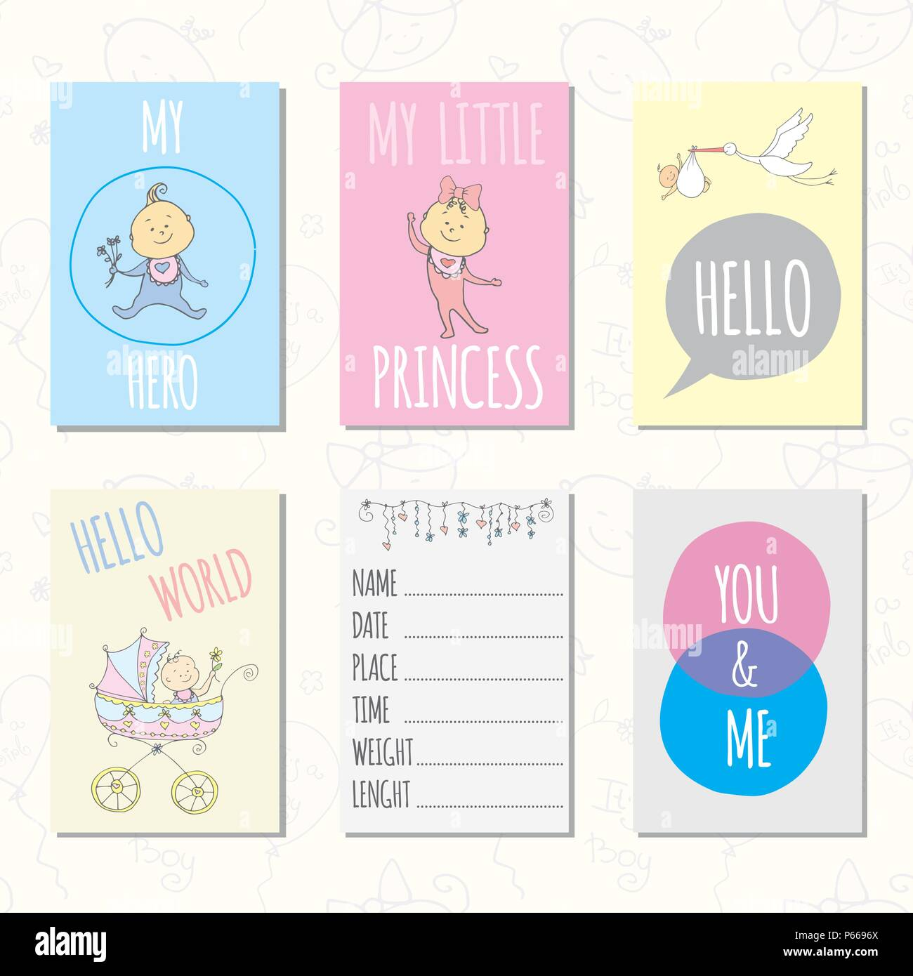 set of journaling cards for newborn baby vector templates for