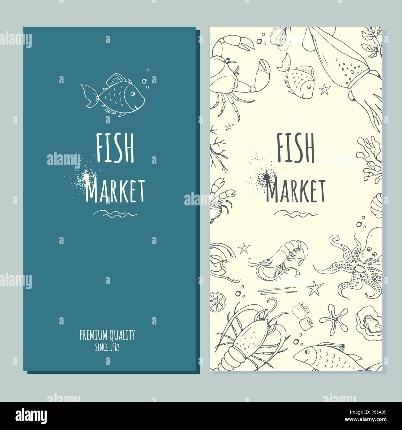 Fish fresh market banner,stock vector illustration - Stock Vector