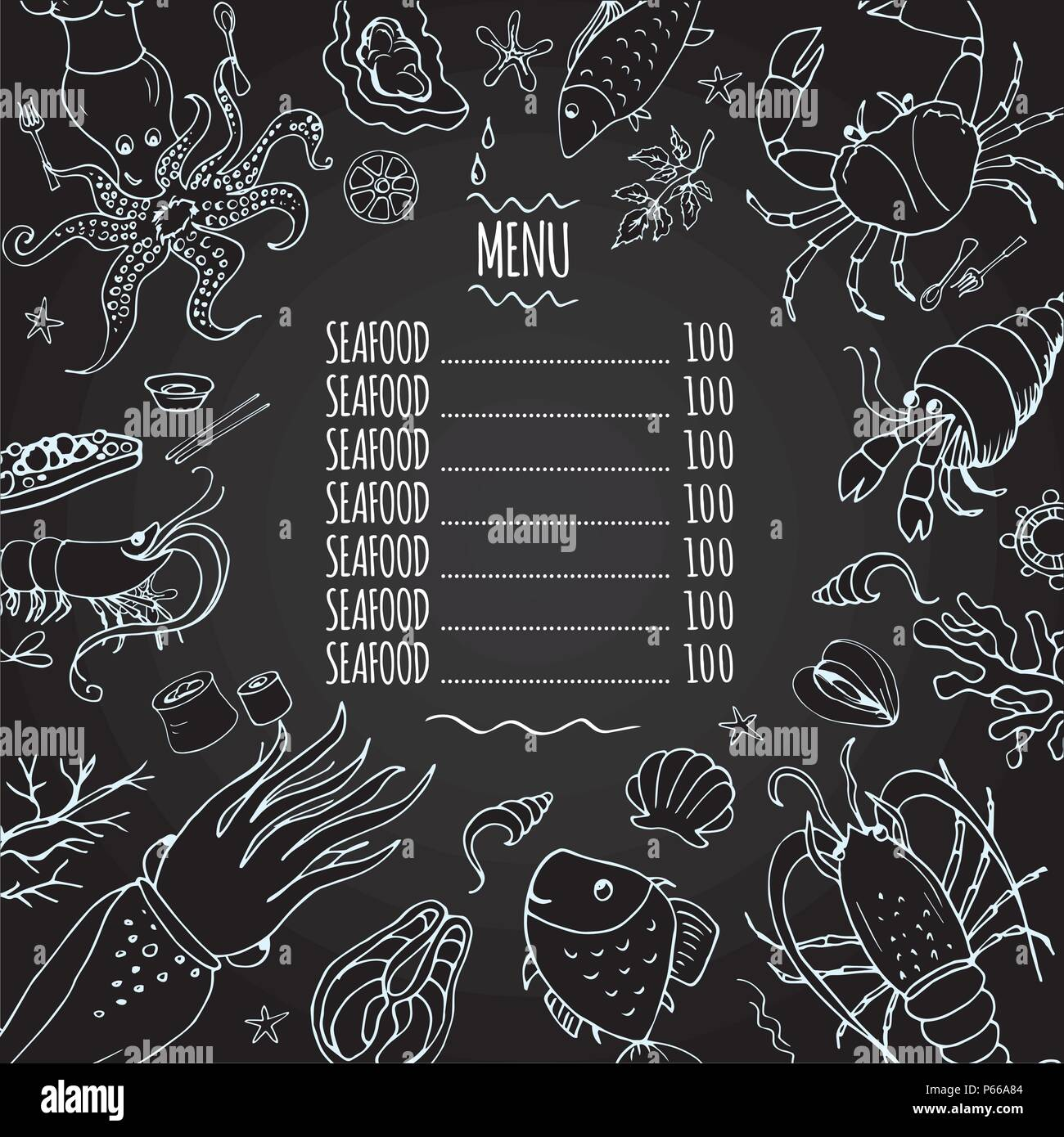 Template seafood menu, great for restaurants, menu, websites ...