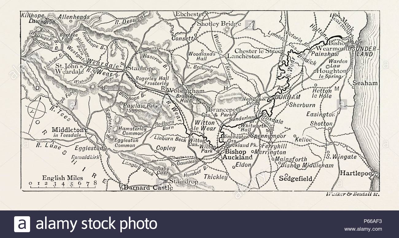 Map Of The Course Of The Wear In North East England Rises In The