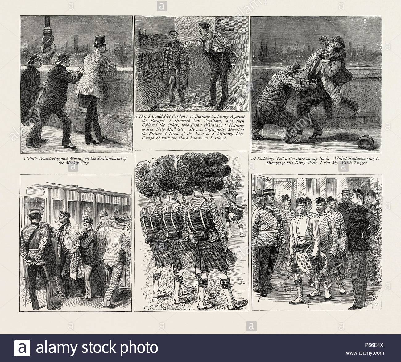 HOW HIGHLAND REGIMENTS SHOULD NOT BE RECRUITED, engraving 1884. - Stock Image