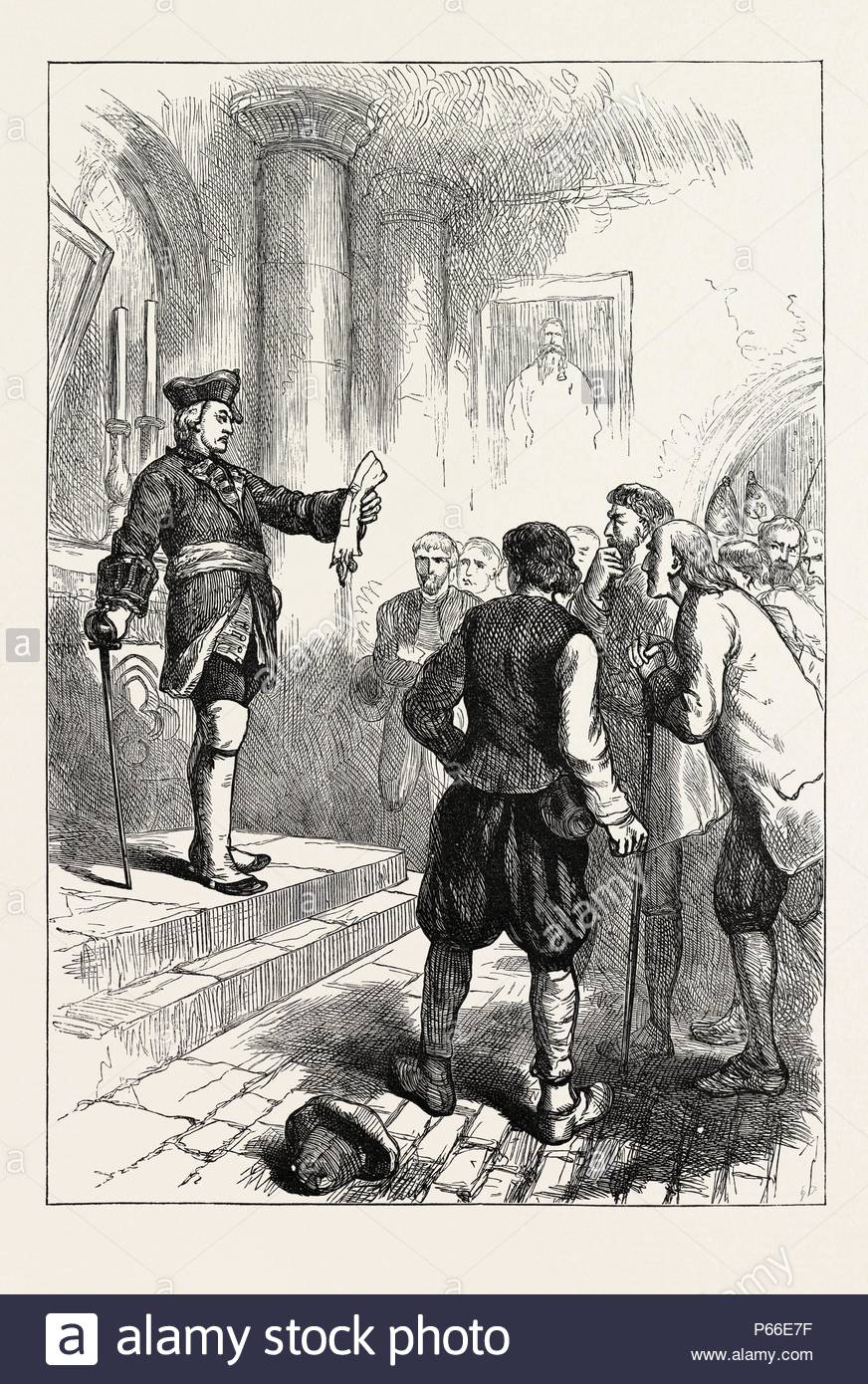 WINSLOW READING THE ROYAL PROCLAMATION, US, USA, 1870s engraving. - Stock Image