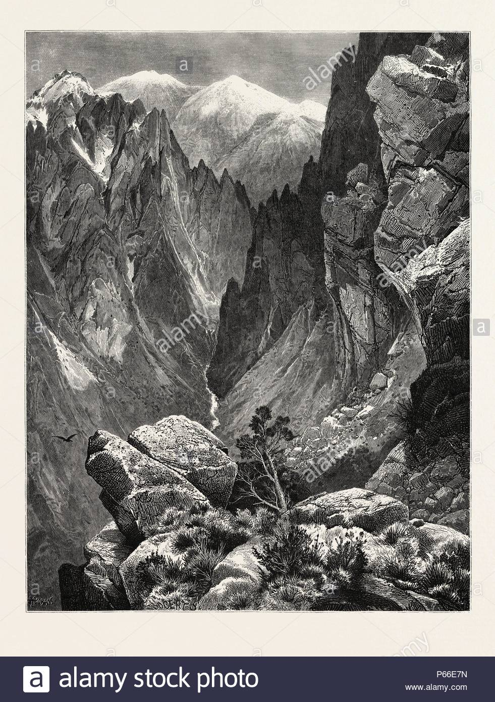 SPRINGVILLE CANYON. Thomas Moran (February 12, 1837 – August 25, 1926) from Bolton, England was an American painter and printmaker of the Hudson River School in New York whose work often featured the Rocky Mountains. USA. - Stock Image