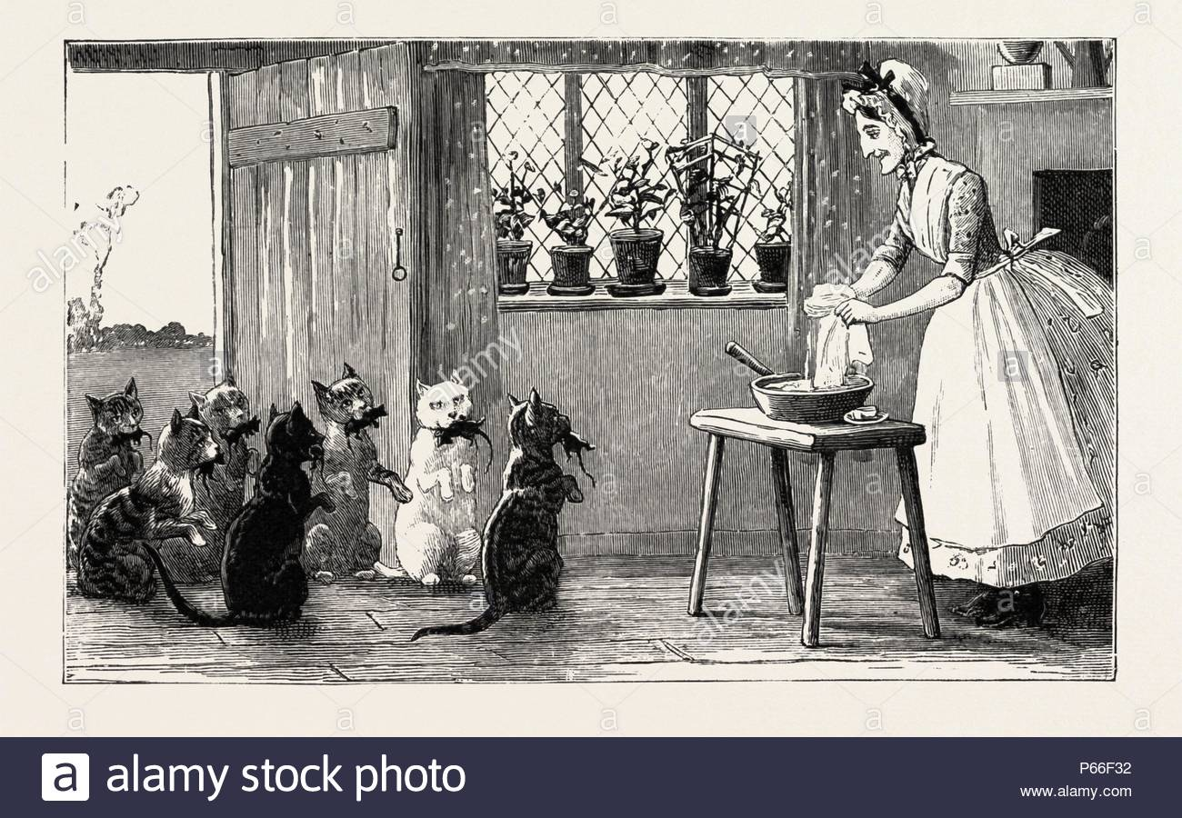 cats and mice, engraving 1890, engraved image, history, arkheia, illustrative technique, engravement, engraving, victorian, Arts, Culture, 19th Century Style, Retro Styled, Vintage, retro, nineteenth century engraving, historic art. - Stock Image