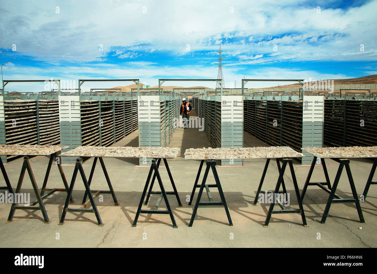 Inspector Walking Through Drill Core  Sample Bank in Escondida Chile. Escondida Is The Largest Single Mine Copper Producer InThe World - Stock Image