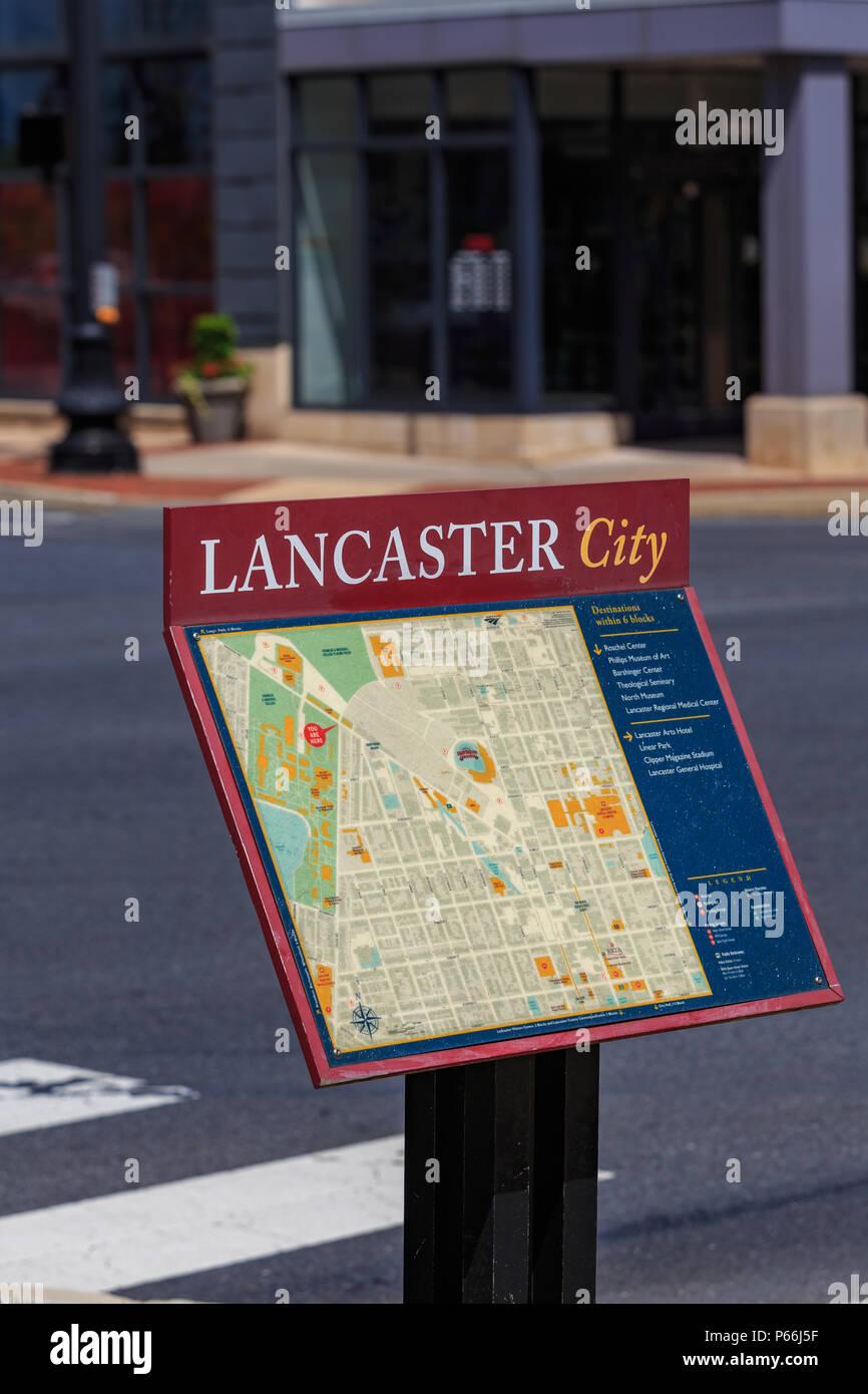 Lancaster Pa Usa June 25 2018 A Lancaster City Map Sign Near A