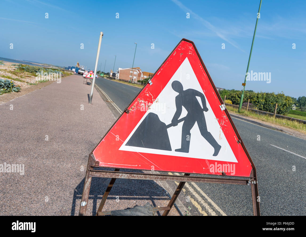 Triangular portable roadworks sign in the UK. - Stock Image