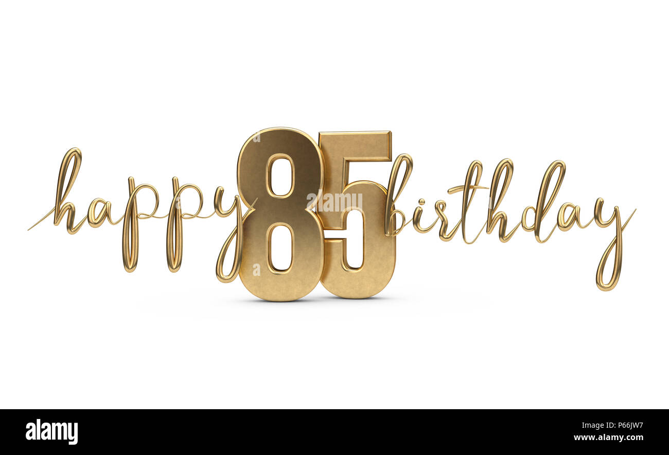 Happy 85th Birthday Gold Greeting Background 3D Rendering