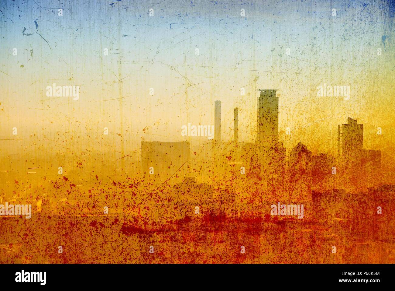Vintage city skyline in blue and sepia tones. - Stock Image