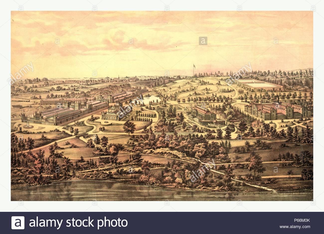Bird's eye view, Centennial Buildings, Fairmount Park, Philadelphia by H.J. Toudy & Co., circa 1875, US, USA, America. - Stock Image