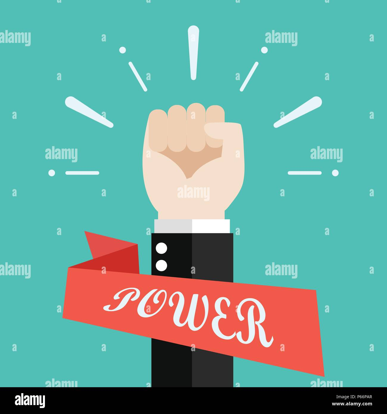Hand of Businessman raised fist air. Vector illustration - Stock Vector